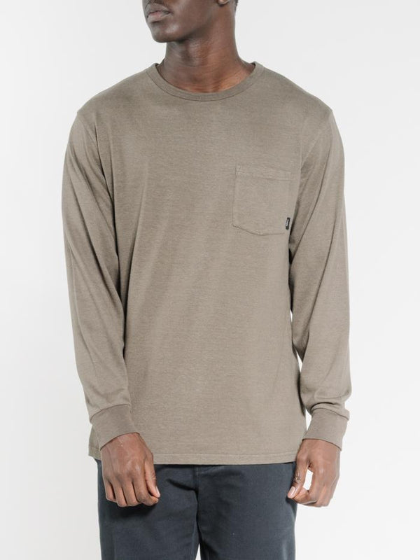 Endless Merch Fit Long Sleeve Pocket Tee - Military Green