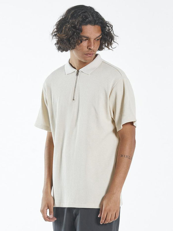 Waffle 3 Quarter Zip Polo - Unbleached