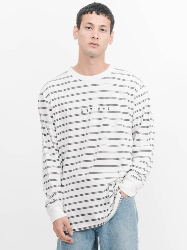 Minimal Thrills Stripe Merch Fit Long Sleeve Tee -  Light Double Stripe