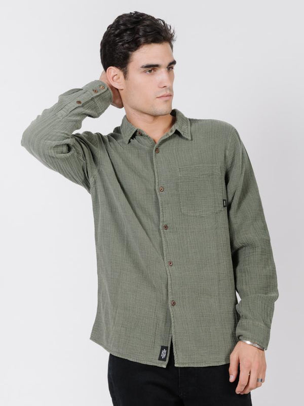 Dril Long Sleeve Shirt - Army Green