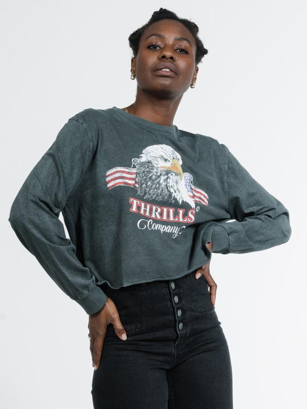 Eagle Flag LS Merch Crop Tee - Merch Black