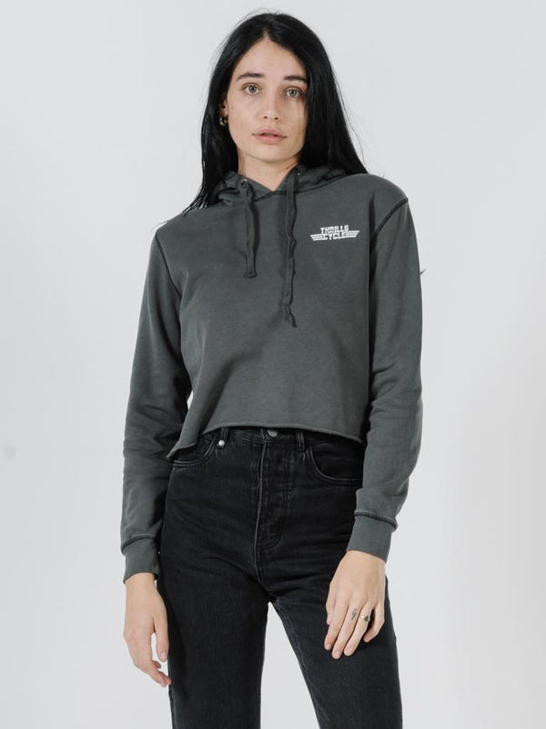Metal Chrome Crop Hood - Merch Black