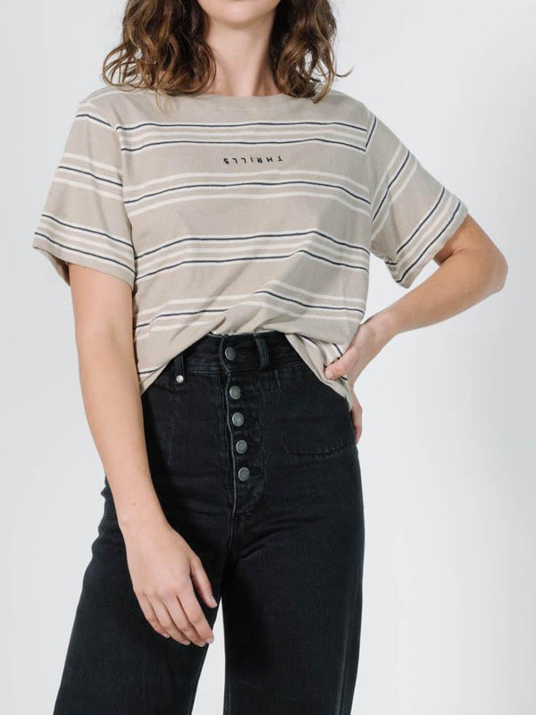 Memory Stripe Crop Tee - Oxford Tan