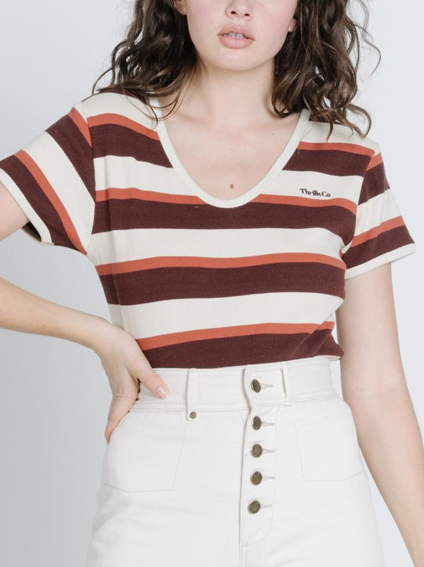 Charlie Stripe Tee - Mustang Brown