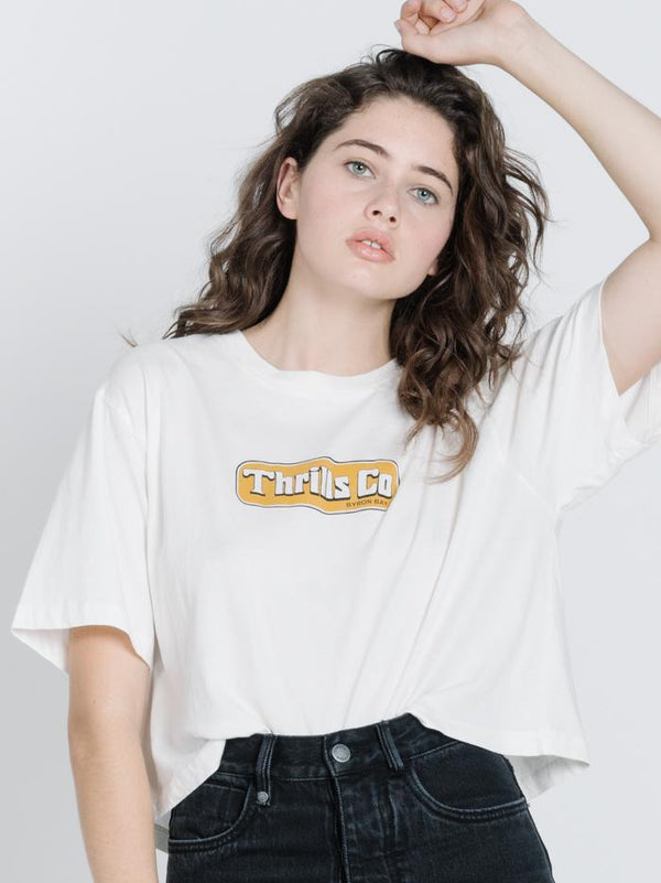 Easy Riding Crop Tee - Dirty White