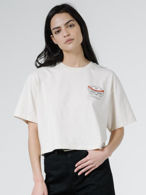 C&C Wings Merch Fit Crop Tee - Heritage White