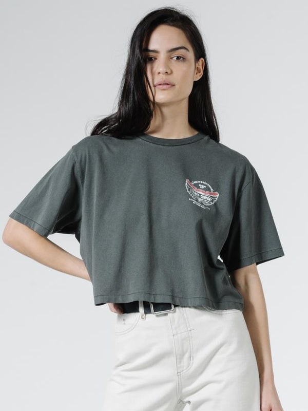 C&C Wings Merch Fit Crop Tee - Vintage Black