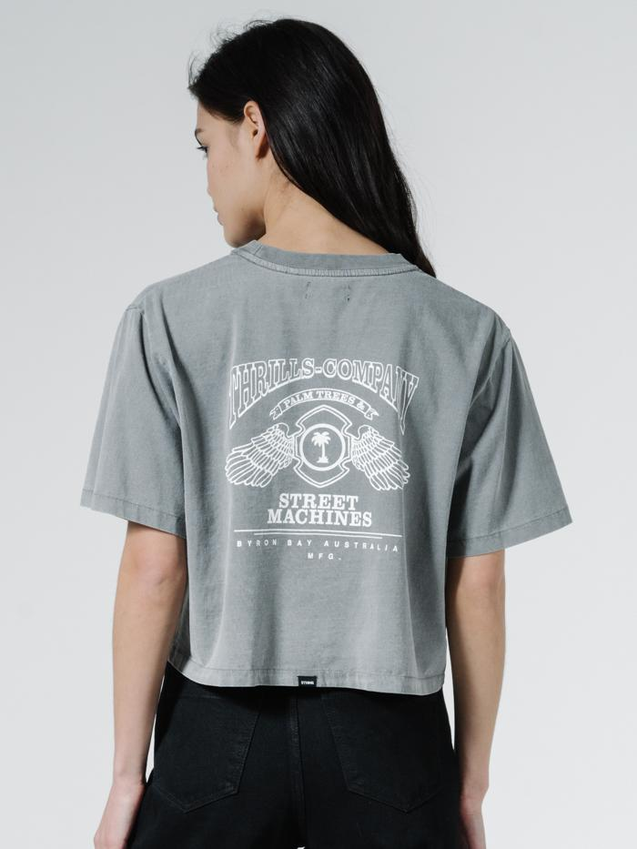 Blackmoon Merch Fit Crop Tee - Washed Grey