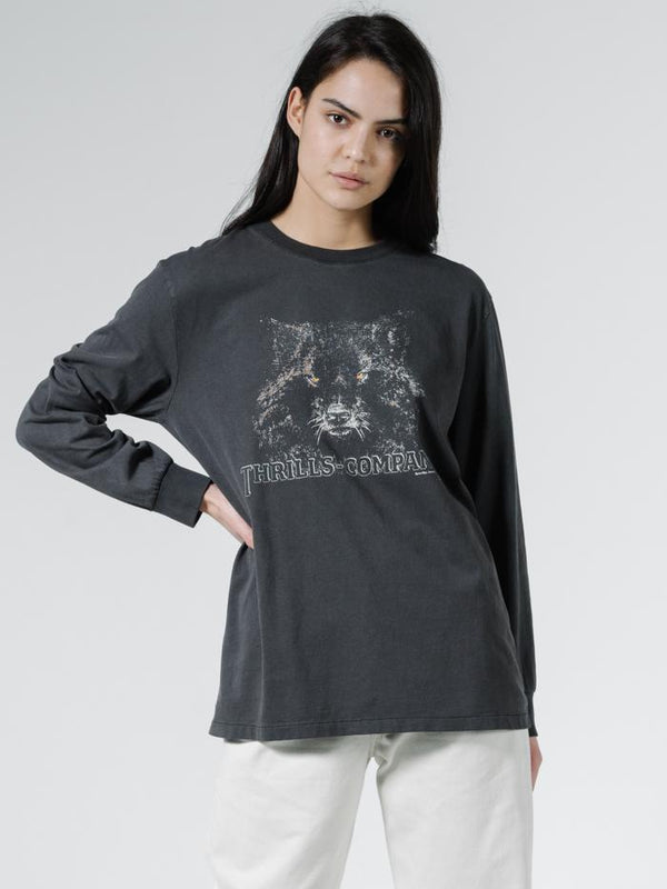 Shades of Wolf Merch Fit LS Tee - Vintage Black