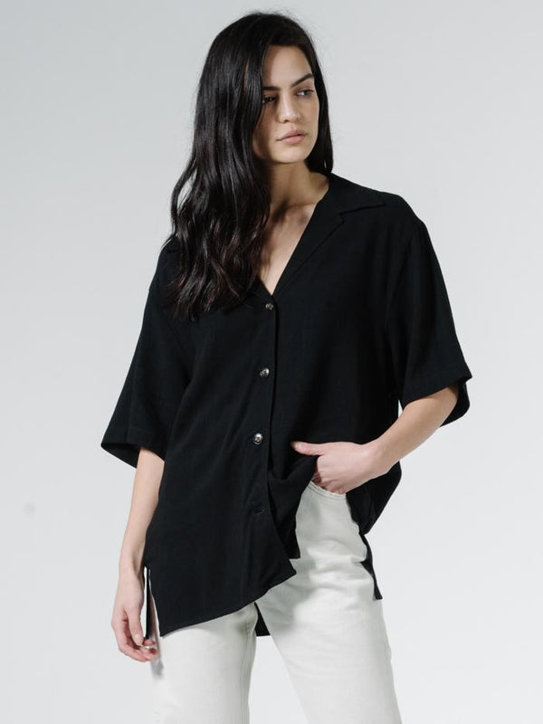 Rose Slouch Shirt - Black