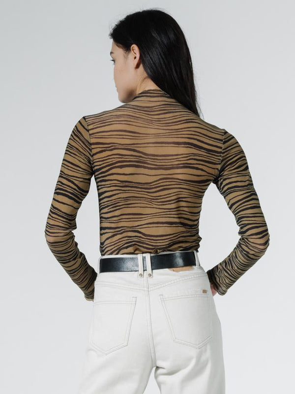 Disrupted Paradise Mesh Turtleneck - Palm Bronze