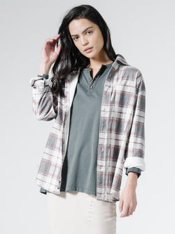 Fire Rose Flannel Shirt - Dirty White