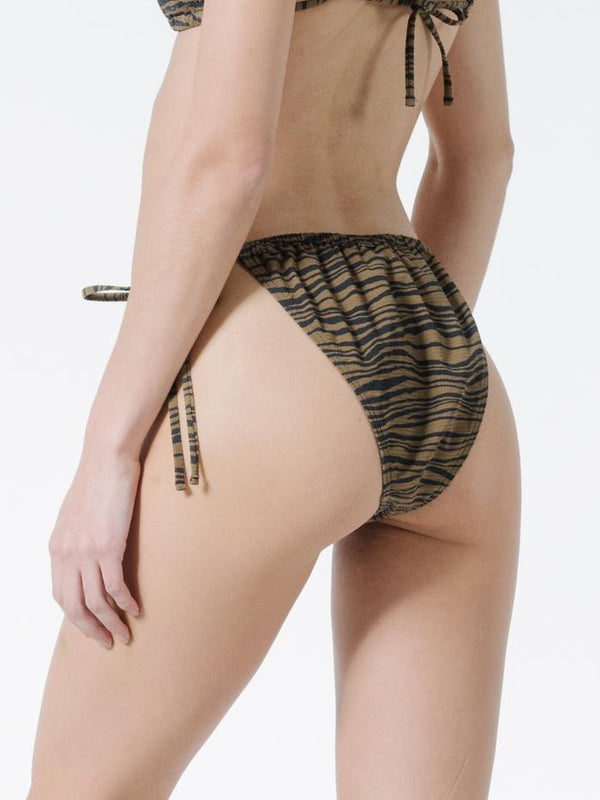 Disrupted Paradise String Bikini Bottom - Palm Bronze