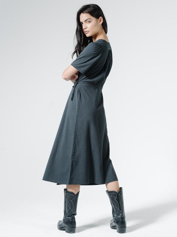 Windowpane Diana Dress - Washed Black