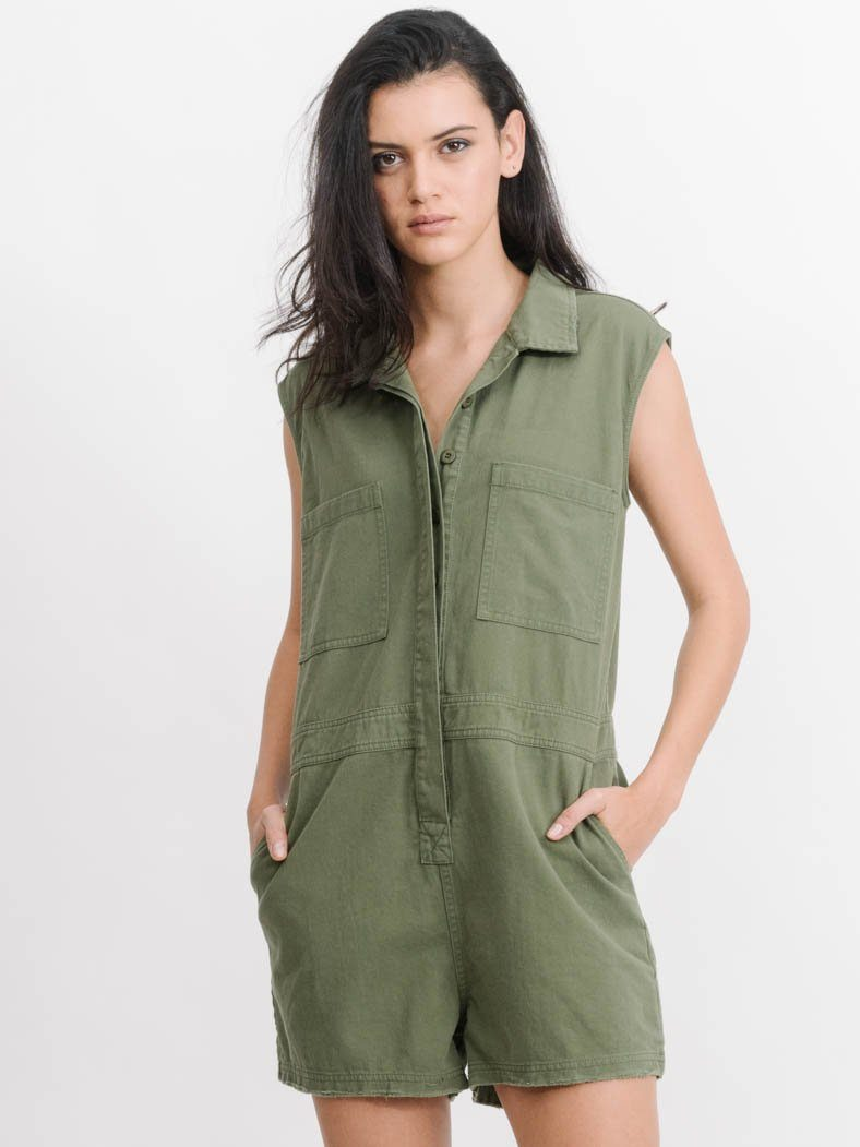 Surplus Sleeveless Romper - Army Green