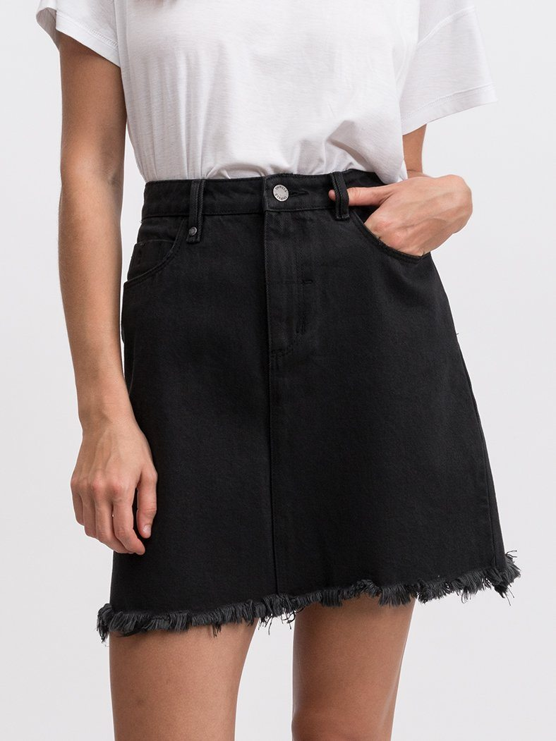 Jane Raw Hem Skirt - Faded Black