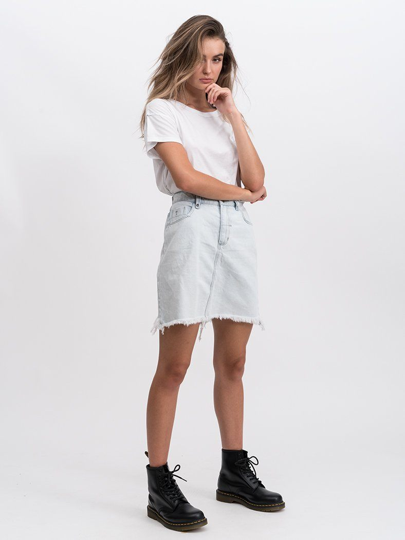 Jane Raw Hem Skirt - Light Blue