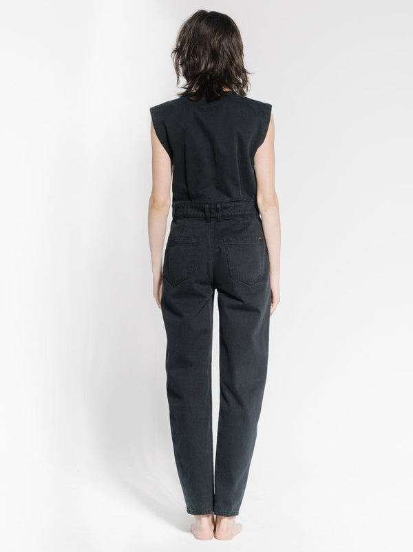 Crescent Sleeveless Coverall - Black Rinse