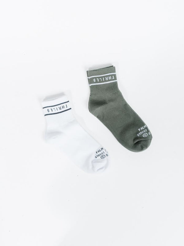 Minimal Thrills 2 Pack Sock - Lume Green-White
