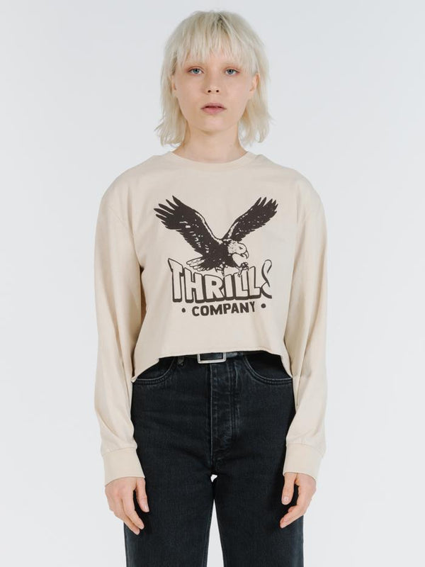 Talons LS Merch Crop Tee - Thrift White