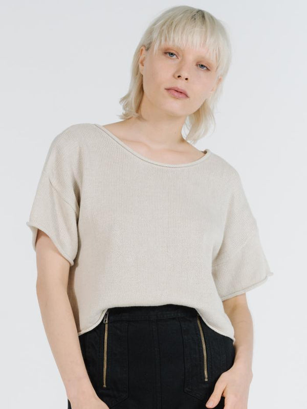 Fairbanks Knit Tee - Bone White