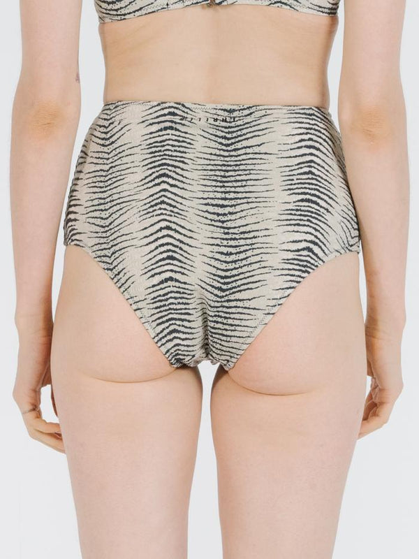 Zebra Lounge High Waist Bikini Pant - Thrift White