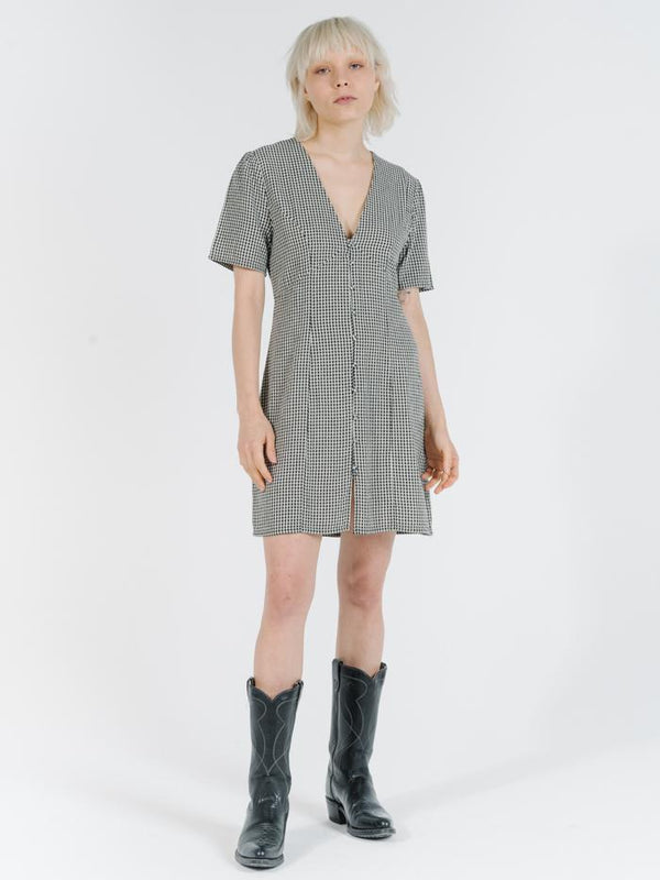 Quad Check Dress - Black