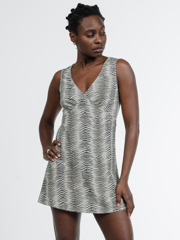 Zebra Lounge Dress - Thrift White