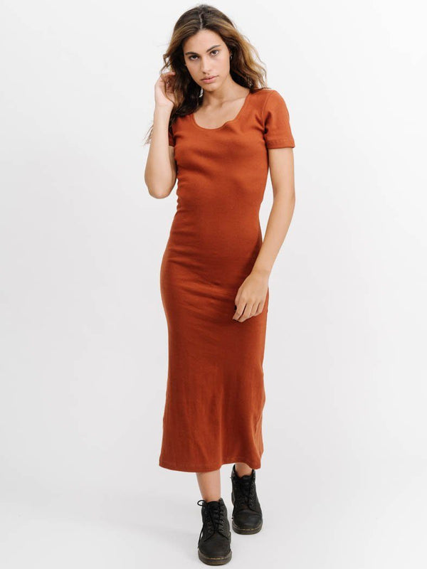Ribbed Midi Dress - Rust