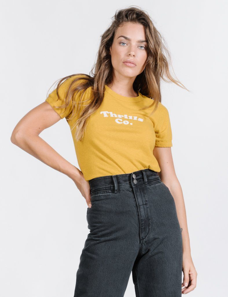Thrills Alley Retro Tee - Sunlight Yellow