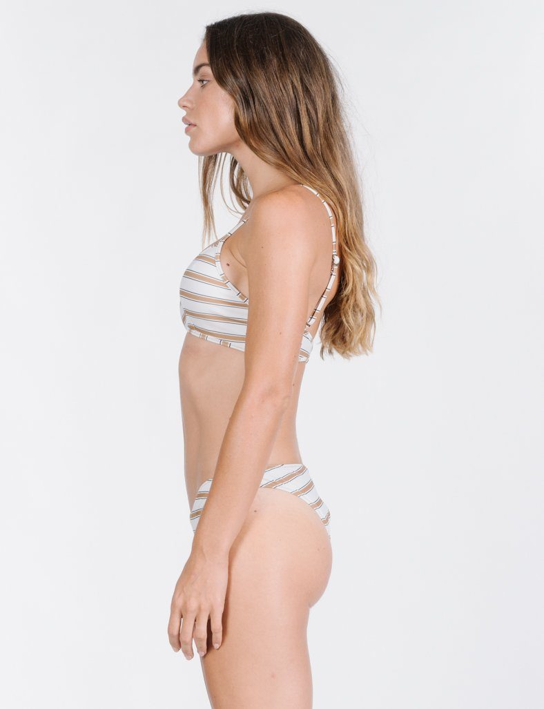 Commune Stripe Bikini Top - Cement