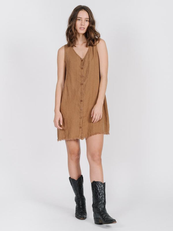 Button Midi Dress - Bronze