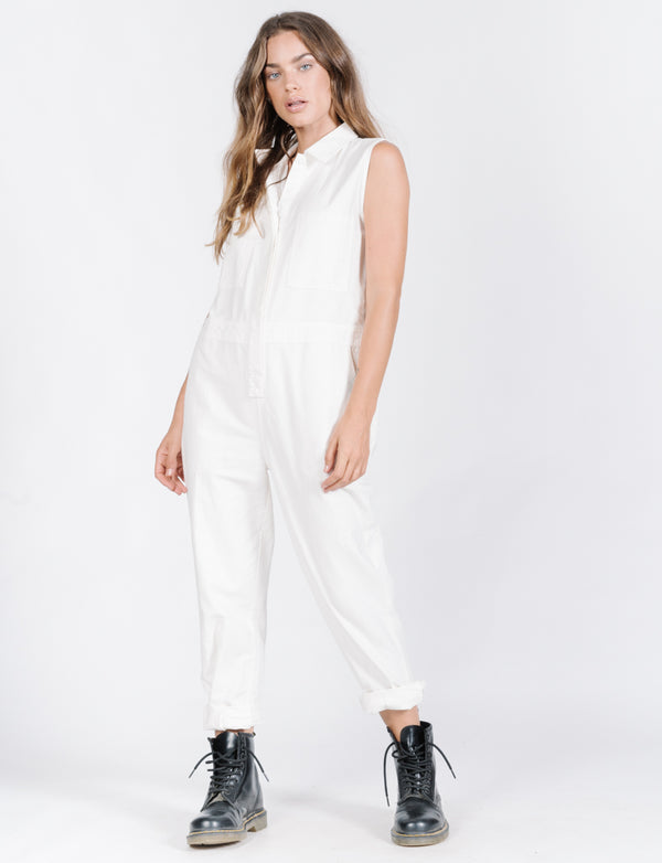 Military Sleeveless Coverall - Dirty White