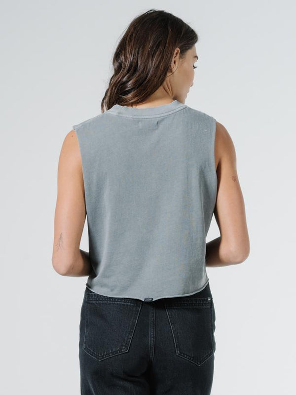 Minimal Thrills Crop Muscle - Washed Grey