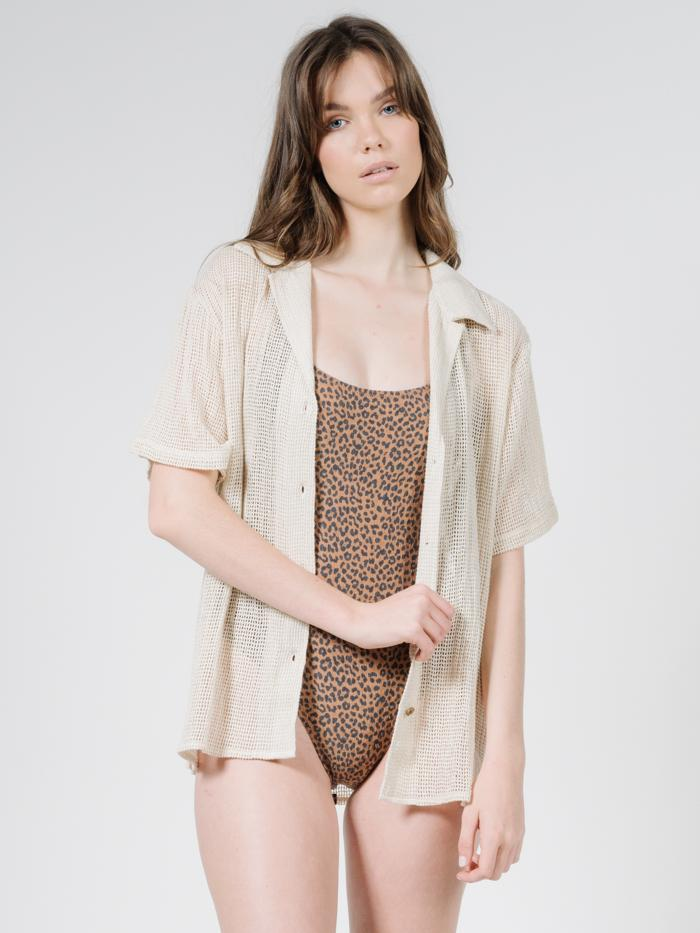 Mesh Slouch Shirt - Unbleached