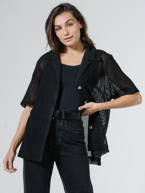 Mesh Slouch Shirt - Black