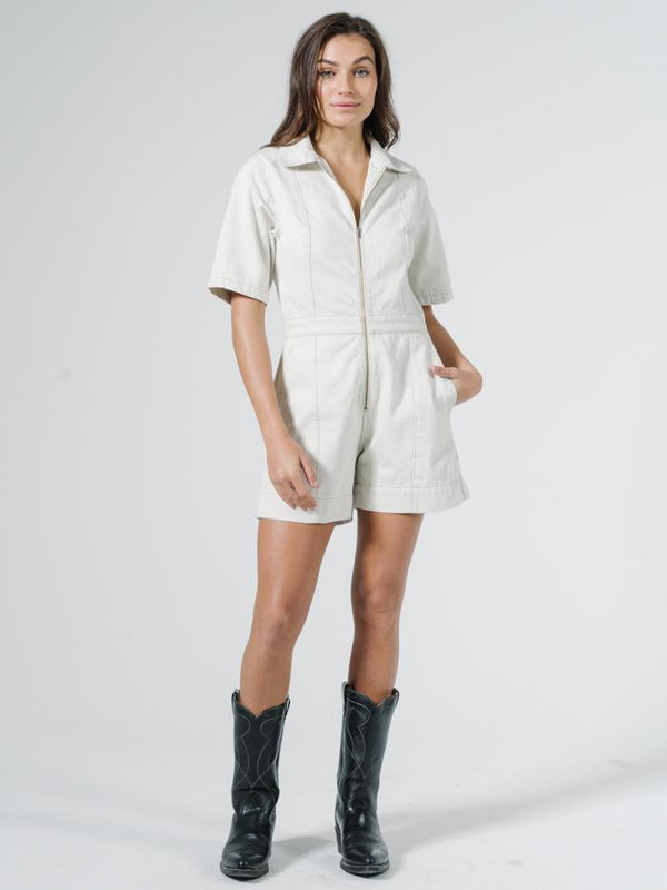 Painter Denim Romper - Vintage Bone