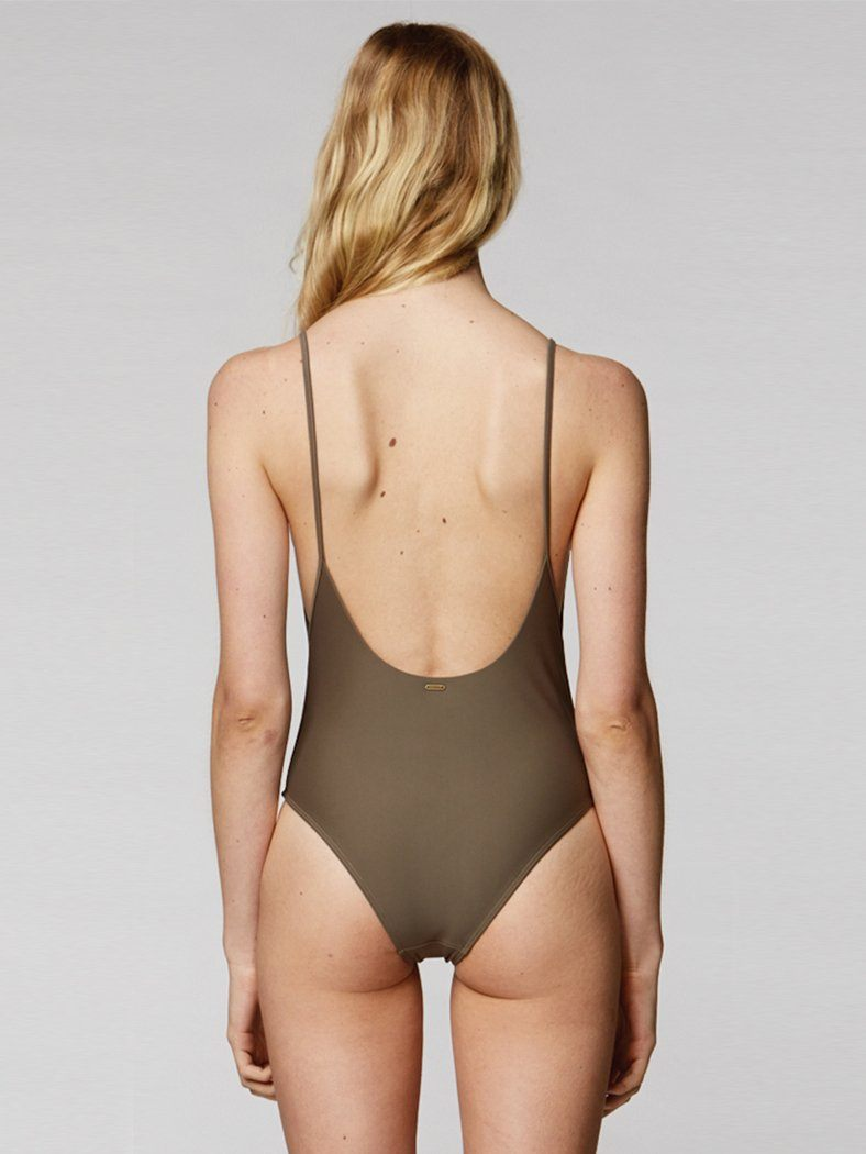 Thrills Palm Embro One Piece - Army Green