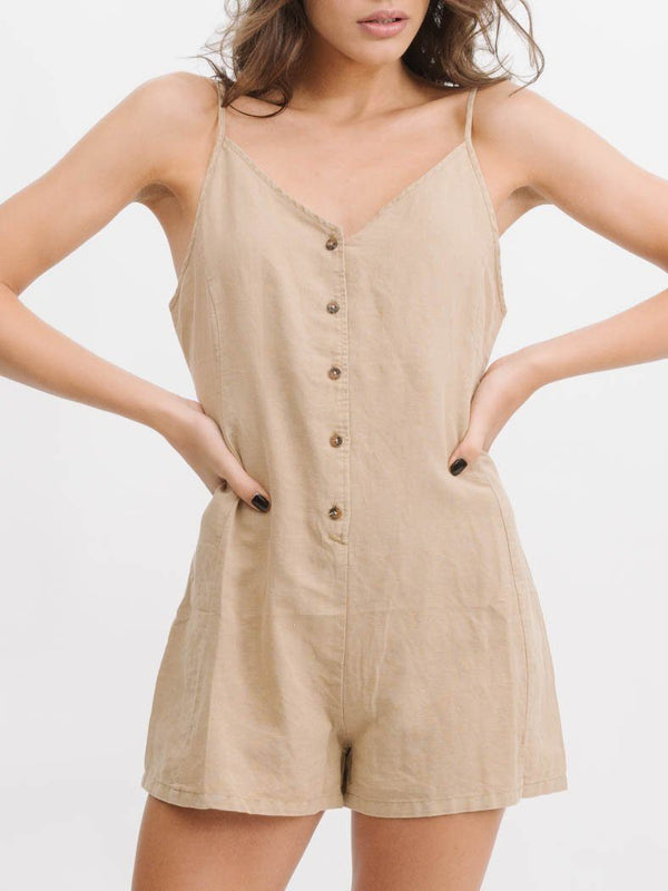 Sienna Panel Playsuit - Sesame