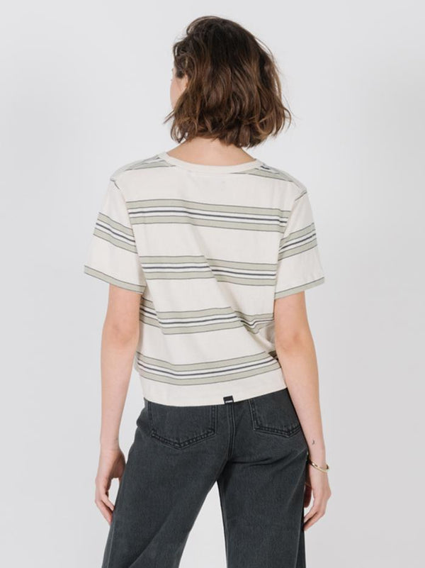 Stacked Stripe Crop Tee - Alfalfa
