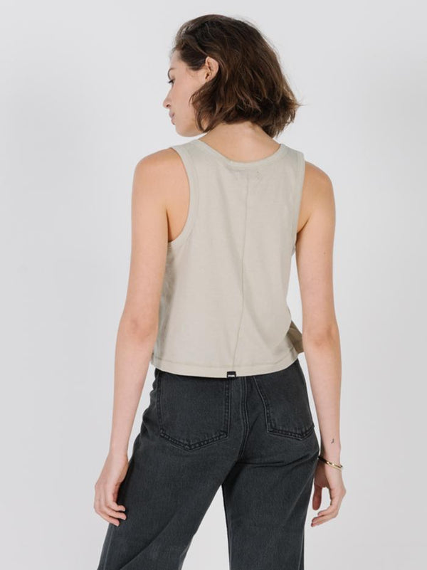 Thrills Stacked Crop Scoop Tank - Alfalfa