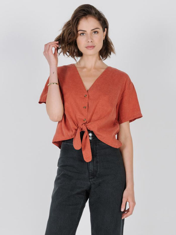 Crop Tie Shirt - Rocker Red