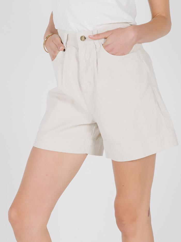 Amalie Pleated Cord Short - Dirty White
