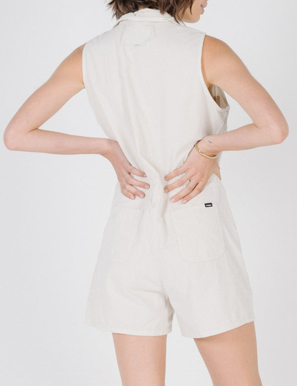 Tab Sleeveless Cord Romper - Dirty White