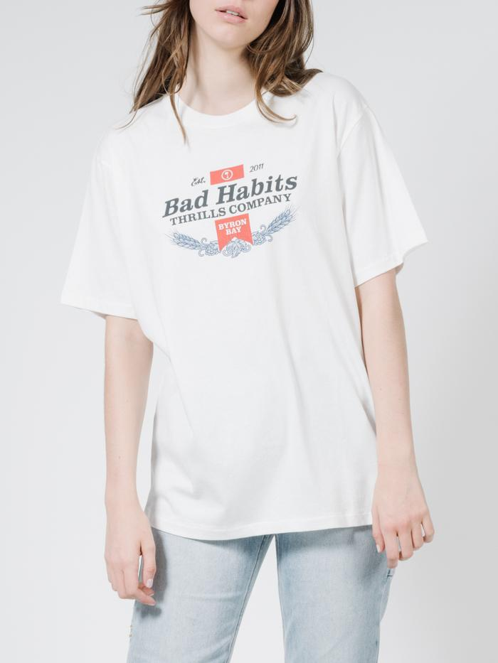 Bad Habits Merch Tee - Dirty White