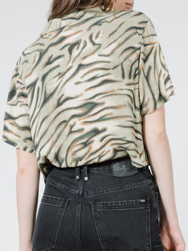 Warped Crop Shirt - Thrift White