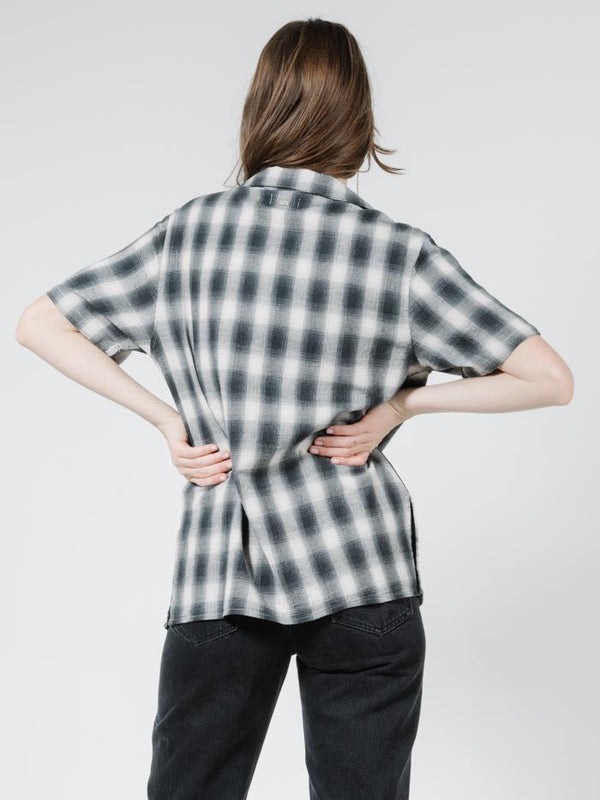 Angel Check Oversized Shirt - Steel Grey