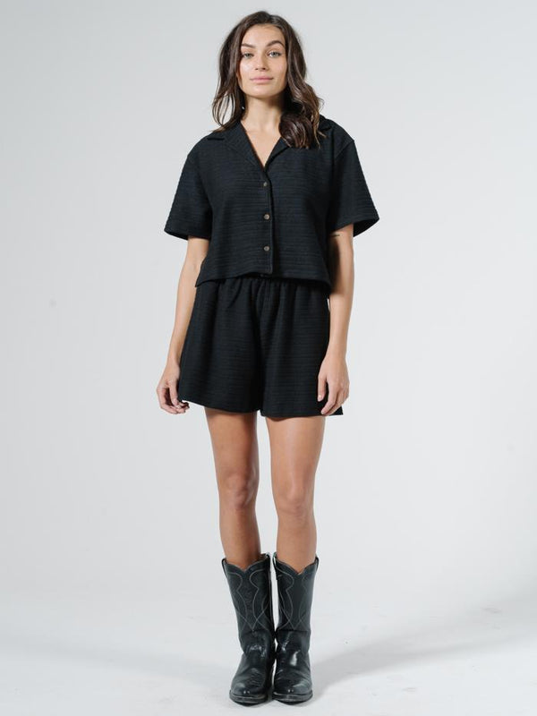 Terry Crop Shirt - Black