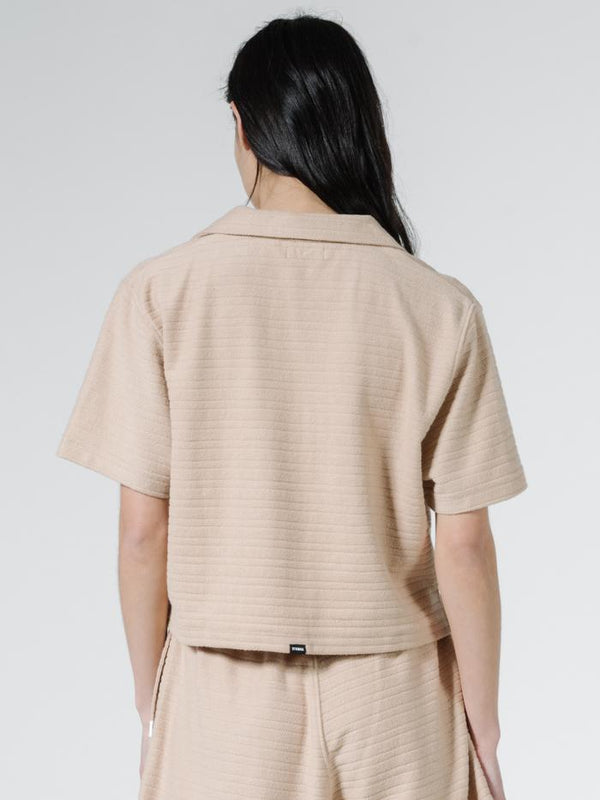 Terry Crop Shirt - Almond