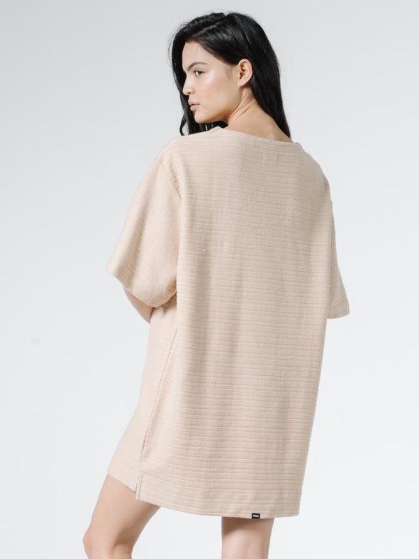 Terry Slouch Tee Dress - Almond